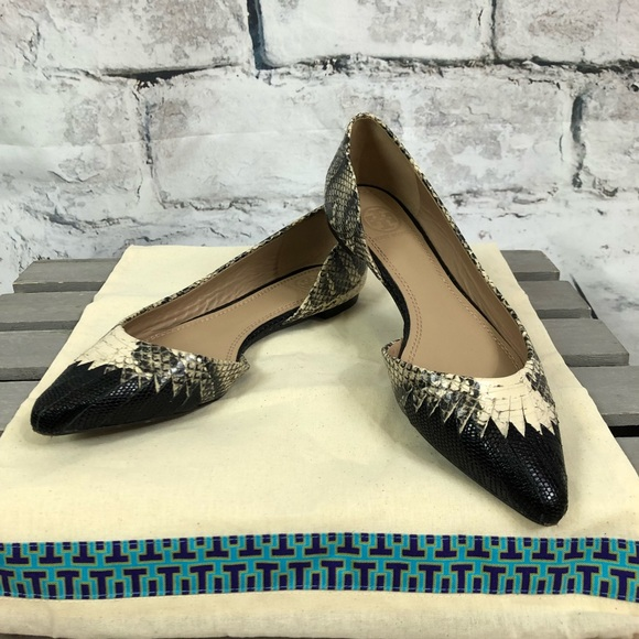 663fa4267 Tory Burch Snakeskin D Orsay Woven Leather Flats. M 5ad3a48800450fde0a313048